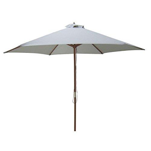 Parasol en bois rond - Arc 3m et polyester 160g/m²- Gris