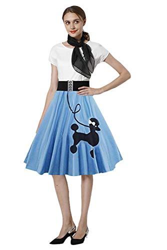 (MingoTor Vintage Rockabilly Kleid Kurzarm Retro Cosplay Kostüm (Rock, Kopftuch, Brillenfassung, Socken) Blau)