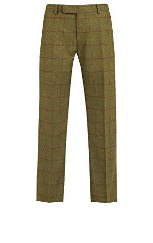 Flat-front-hose Gefüttert (Dobell Herren Erdgrün Hose Windowpane Muster Tweed Slim Fit Halb Gefüttert Grün 40R)