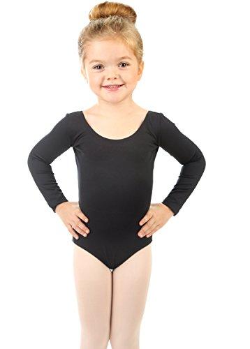 Elowel Infantil Ni?as b?sicas de gimnasia de manga larga (tama?o 2-4 a?os) Negro