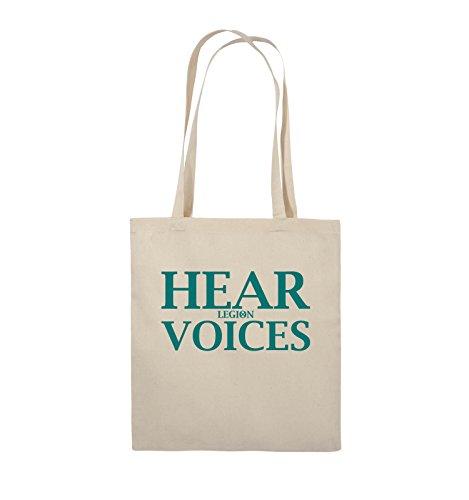 Comedy Bags - HEAR VOICES - LEGION - Jutebeutel - lange Henkel - 38x42cm - Farbe: Schwarz / Silber Natural / Türkis