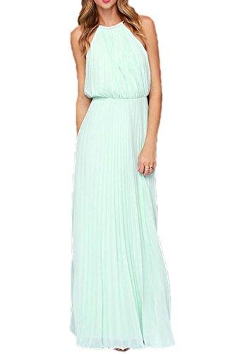 Frauen Halter Ärmellose Maxi Gefalteten Partei Strand Dress Blue