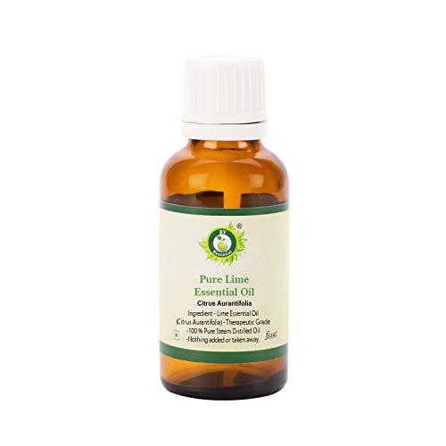 R V Essential Reines Limones Ätherische Öl 5ml (0.169 Unzen) - Citrus Aurantifolia (100% reiner und natürlicher Dampf destilliert) Pure Lime Essential Oil