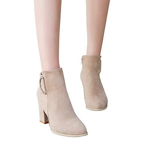 Stiefel Damen Mode Boots Herbst und Winter Stiefeletten Frauen Seitlichem Reißverschluss Stiefel Starke Ferse Stiefel Ankle Schuhe ABsoar