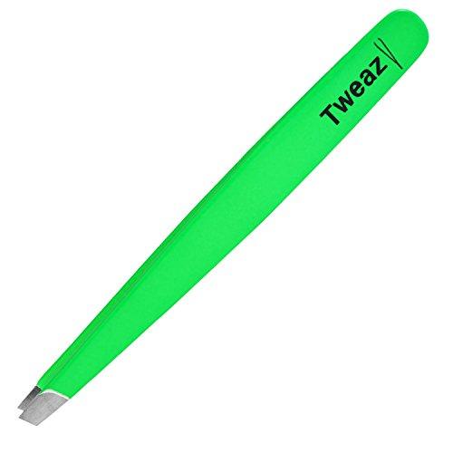 K-Pro TWEAZY Pinzette zum Augenbrauen zupfen und Splitter entfernen aus Edelstahl (Neon Grün)