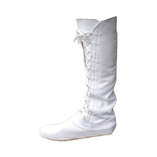 JUTOO Frauen Retro Round Toe Schuhe Plattform Lace-Up tiefen Mund Lange Rohr Schwarz Boot(Weiß,41 EU)
