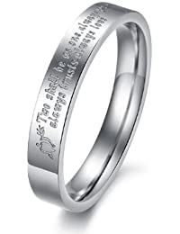 """bigsoho Silver Arrow Heart """"Two Shall Be As One. Always Protects. Always Trust. Always Love"""" Titanium Stainless Steel Wedding Couple Ring Size J 1/2,L 1/2,N 1/2,P 1/2,R 1/2,T 1/2"""