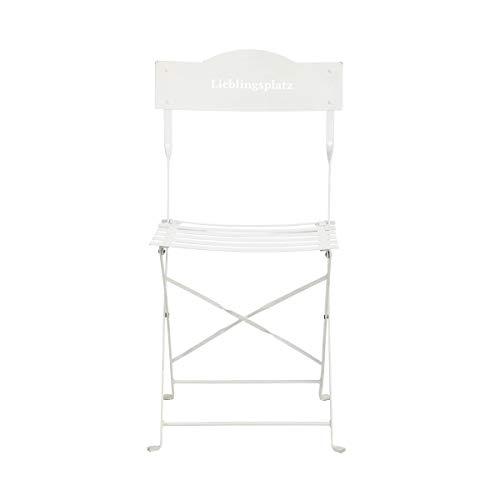 BUTLERS Lieblingsplatz Gartenstuhl in Weiß 47x41x87 cm - Klappbarer Stuhl aus Eisen in Retro-Optik - Balkonstuhl
