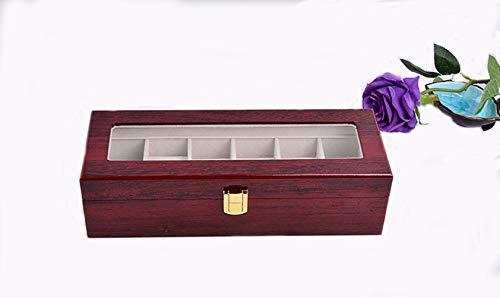 Watbox Uhrenbox für 6 Holz Uhrenkasten Uhrenkoffer Schmuckkasten Damen Herren mit Klare Oberseite