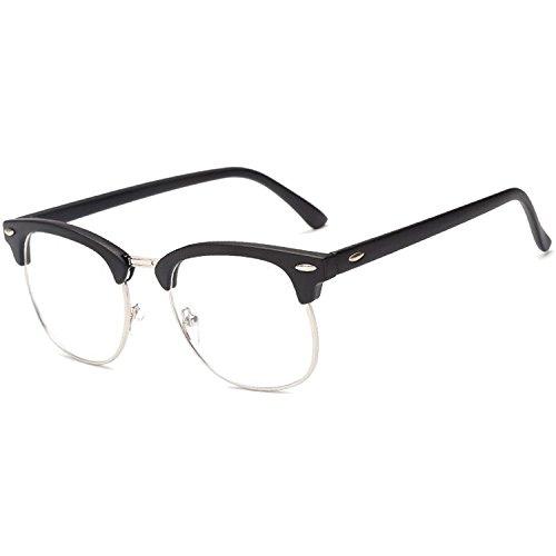 Vococal Mode Classic Half Metal Frame Umrandeten Brillenfassungen / Unisex Plain Klar Linse Brillengestelle / Brillen Frame Dekorativ Zubehör für Myopie Brille, Matt Schwarz + Silber