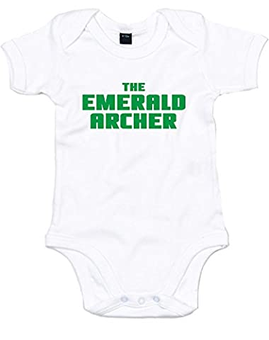 The Emerald Archer, Printed Baby Grow - White/Green 0-3