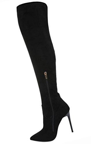 Damen Schuhe Overknee Stiefel High Heels Stiletto Schwarz Modell NR1Schwarz