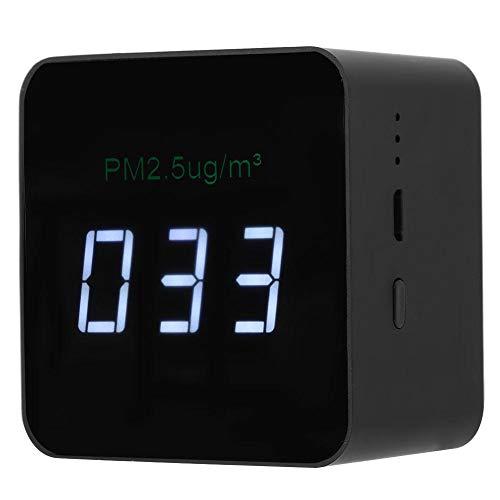 Tragbares Luftqualitätsmessgerät, USB Mini PM2.5 Detektor Wiederaufladbares Luftqualitätsmessgerät mit LED-Anzeige Schwarz -