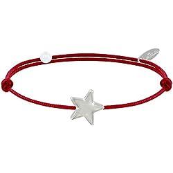 Les Poulettes Bijoux - Bracelet Lien Etoile d'argent - Classics - Rouge