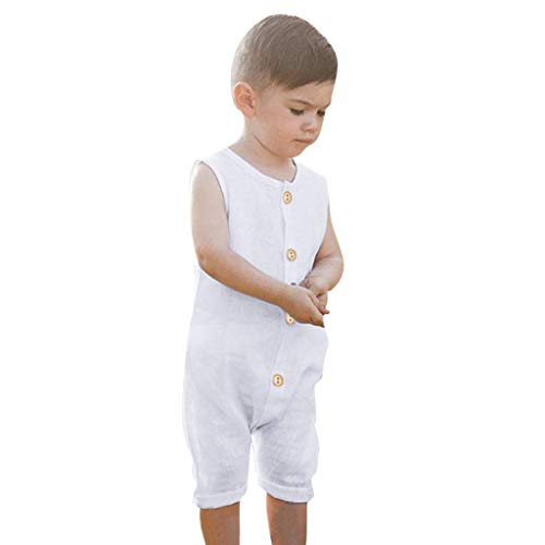 Livoral Baby Madchen Sommer Kleidung Sommer-Säuglingsbaby-Jungen u. Mädchen-ärmellose Rüschen-Feste Spielanzug-Overall-Kleidung(Weiß,100)