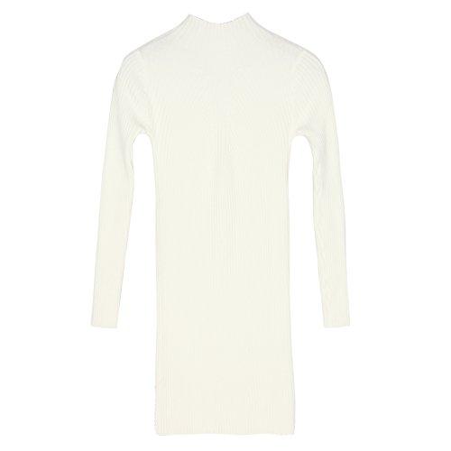 LAEMILIA Robe Mini Femme Manches Longues Ajusté Tricot Hauts Moulante Automne Hiver Sous-pull Blanc