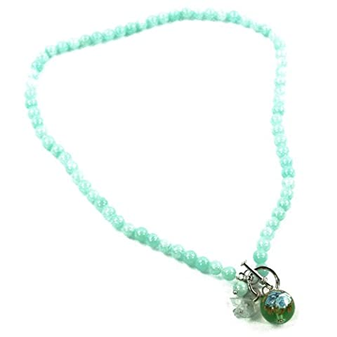 BG3266-3 Jade Necklace by Black Ginger with Aqua Ceramic Bead