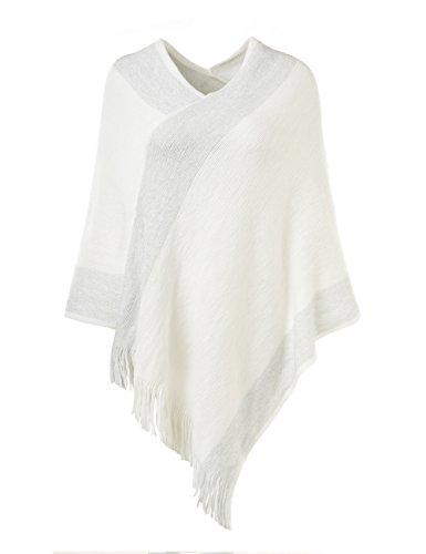 Ferand - poncho elegante mantella a strisce lavorato a maglia con scollo a v con frange - donna - taglia unica - bianco