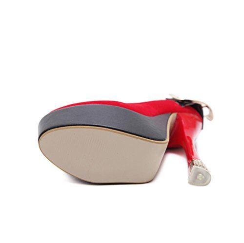 Best 4U® Sandali da donna Primavera Autunno Suede Punta rotonda Fibbia in metallo 15CM Tacchi alti 4,5 CM Scarpe con plateau Pompe Black