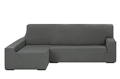 Martina Home Tunez Funda Elástica para Sofá Chaise Longue, Brazo Izquierdo, color Gris, tamaño desde 240 a 280 cm