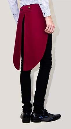 SMITHIE - The Aristocrat - Men's Skirt - Burgundy - Gentleman Attire (Coat Tail, Knee Length, Tailored Fit)