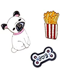 The Cats Pajama Pop Corn, Pooch And Bone Pin Set Of Three For Girls And Women