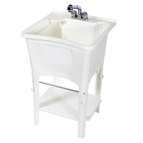 Zenna Home, ErgoTub ELT2006W Freestanding Utility Laundry Tub with Pull-Out Faucet, White by ZPC Zenith Products Corporation
