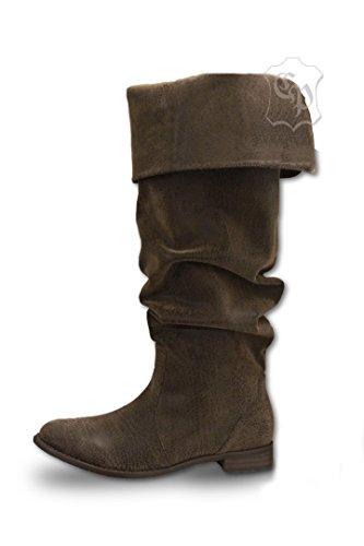 Boot Im Kostüm Mann Kleiner - CP-Schuhe Mittelalter Stiefel Piratenstiefel Käptn Rotbart (44)