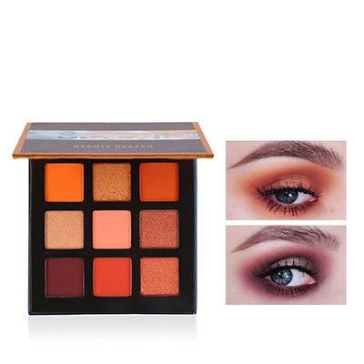 Beauty Glazed 9 Couleurs scintillement Matte Fard à Paupières Palette Shimmer Maquillage Métallique Ombre à Paupières longue durée imperméable à l'eau # 02