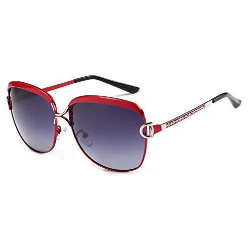 LKVNHP Frauen Sunwear Frau Sonnenbrillen Rahmen Polarisierte Gradient Abgetönte Linsen Polarisieren Weibliche Sonnenschirme RahmenRot