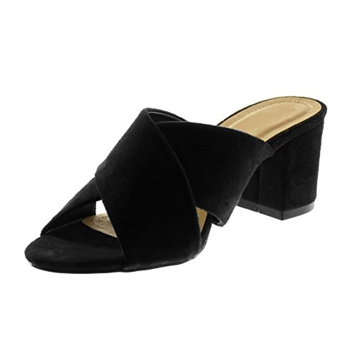 Angkorly Chaussure Mode Sandale Mule Slip-On Femme Lanière Talon Haut Bloc 7 cm Noir