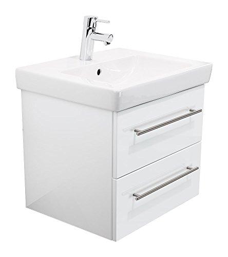 Emotion SUBWAY2-0-55CM000101DE Waschbecken mit Unterschrank, Holz, weiß Hochglanz, 55 x 45 x 44 cm