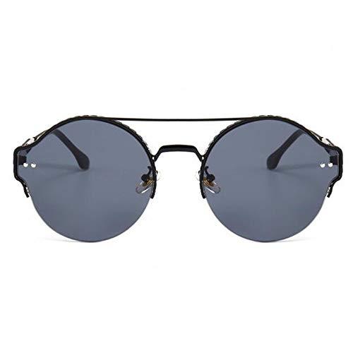 YingYing Ma Unisex polarisierte Sonnenbrille,Halbrandbrille mit rundem Gestell Flache...