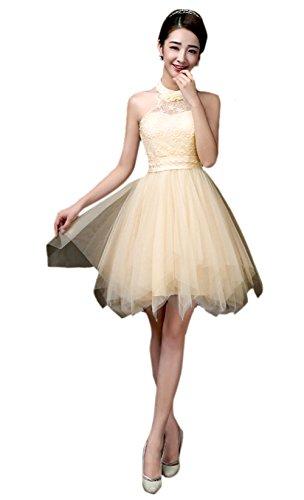 Honeystore Damen's A-Linie/Princess-Linie Knielang Tüll Ärmellos Brautjungfernkleid Abendkleid mit Reißverschluss 28#Champagner M