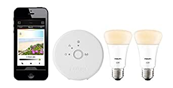 Philips Hue Lux Personal Wireless Lighting Starter Kit (2 x A19 E27 LED Light Bulbs, 1 Bridge)