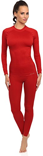 Merry Style Set Maglia e Calzamaglia Termiche Donna 06 110 120 (Rosso, S/M)