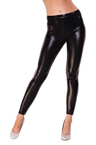 Leggings Metallic Latex Wet Look Lack Leder Optik Gr. S M L XL XXL 3 X 4XL, 1905 Schwarz Glanz L/40