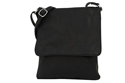AMBRA Moda Italienische Ledertasche Schultertasche Crossover Umhängetasche Nappaleder Damen Kleine Tasche NL602 (Schwarz) -