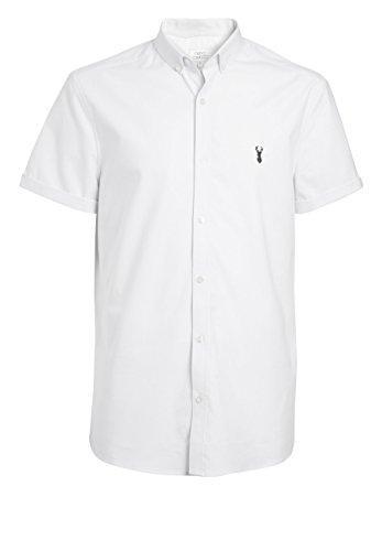 next Herren Oxford-Stretchhemd mit Kurzen Ärmeln Weiß XXL - Mandarin Kragen Ärmellos