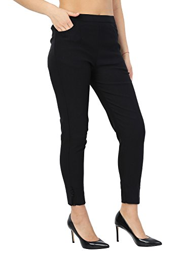 Istyle Can Lycra Stretchable Slim Fit Straight Casual Cigarette Pants for Girls/Ladies/Women Black