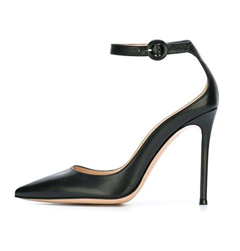 Soireelady Scarpe Tacco a Spillo,Scarpe col Tacco Punta Chiusa Donna,Scarpe con Cinturino alla Caviglia,Nero EU37