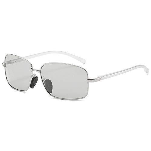 DRLLYY Farbwechselnde Männer-Sonnenbrille Polarized Fashion Square Frame Sunglasses draussen (Color : 02Sliver, Size : Kostenlos)