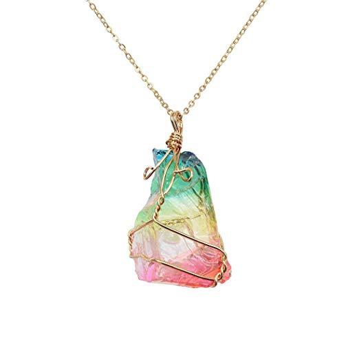 Natürlicher Regenbogen Stein Heilung Crystal Rock Quarz Anhänger Halskette Birthstone Gold überzogene volle Wire Wrap Edelstein Halskette Schmuck (Regenbogenfarbe) Voller Rock Wrap