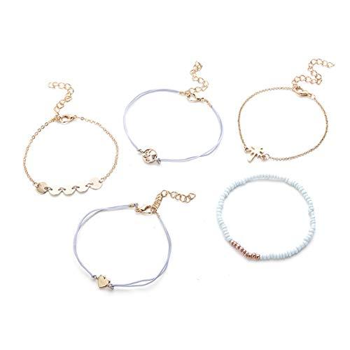 Faliya fünf-teiliges Gesetztes reizendes Art- und Weisegewebtes Armband-Korn-Liebes-Kokosnuss-Armband-Charme Multi-Schicht umsponnene Armbänder, die für Mädchen Geschenk passen