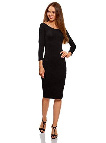 oodji Ultra Mujer Vestido Ajustado con Escote Barco, Negro, ES 42 / L