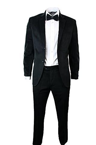 Suit Hommes Velvet Slim Fit Blazer noir pantalons & Bow
