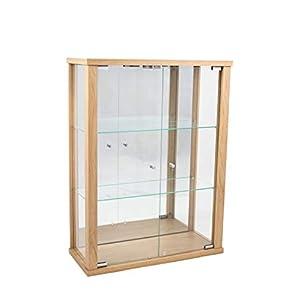 K-Möbel Glasvitrine in Buche (80x60x25 cm) mit 2 höhenverstellbaren Glasböden aus ESG, LED und Spiegel; beleuchtet…
