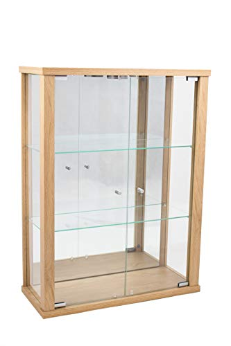 K-Möbel Glashängevitrine Glasvitrine Spiegel Beleuchtung Hängevitrine mit LED in Buche Dekor 80x60x25 cm mit 2 Glaseinlegeböden