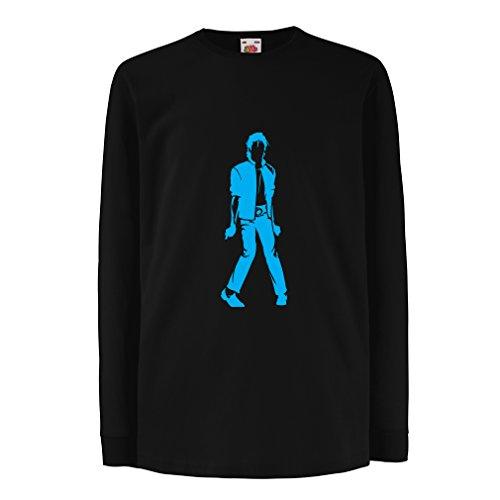 lepni.me Kinder-T-Shirt mit Langen Ärmeln Ich Liebe M J - King of Pop, 80er Jahre, 90er Jahre Musical Shirt, Partykleidung (14-15 Years Schwarz Blau)