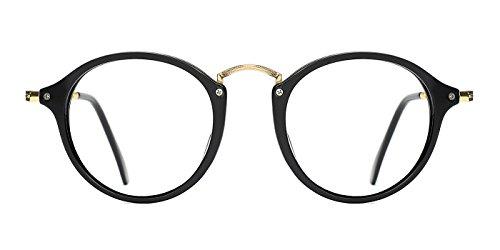 TIJN Damen Retro Hornbrille Runde Brille Ohne Sehstärke Rahmen Brillenfassung Schwarz
